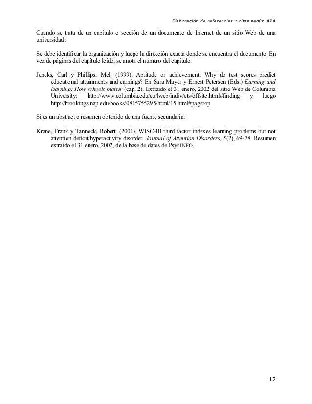 Elaboración de referencias y citas según APACuando se trata de un capítulo o sección de un documento de Internet de un sit...