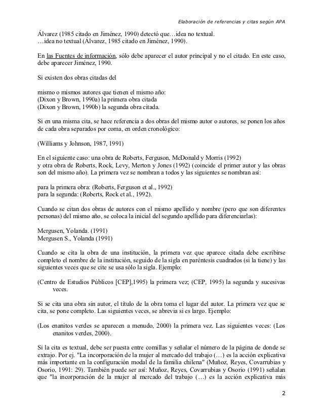 Elaboración de referencias y citas según APAÁlvarez (1985 citado en Jiménez, 1990) detectó que…idea no textual.…idea no te...
