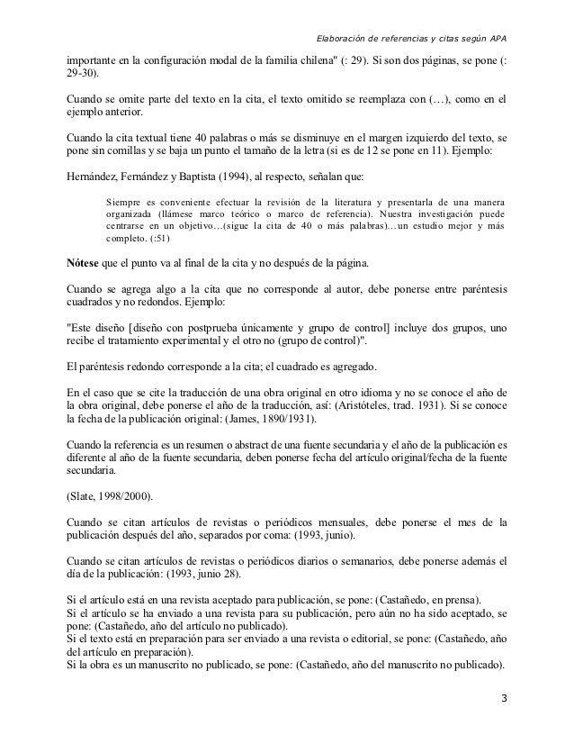 """Elaboración de referencias y citas según APAimportante en la configuración modal de la familia chilena"""" (: 29). Si son dos..."""