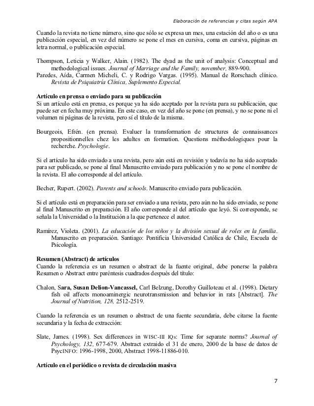 Elaboración de referencias y citas según APACuando la revista no tiene número, sino que sólo se expresa un mes, una estaci...