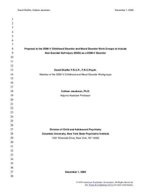 Apa dsm 5 nssi proposal