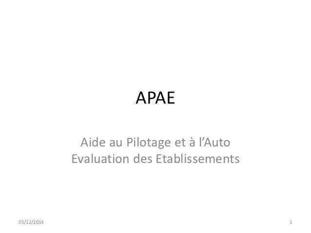 APAE  Aide au Pilotage et à l'Auto  Evaluation des Etablissements  05/12/2014 1