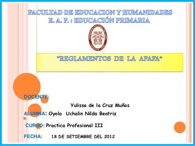 Universidad Nacional del SantaDOCENTE:                  Yulissa de la Cruz MuñosALUMNA: Oyola Uchalin Nilda BeatrizCURSO: ...