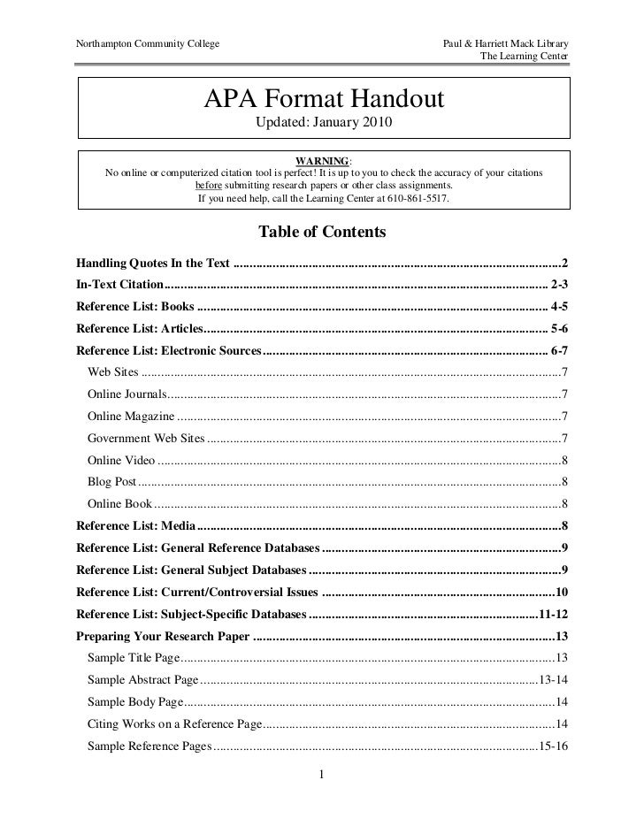 Apa format for Table of contents apa style template