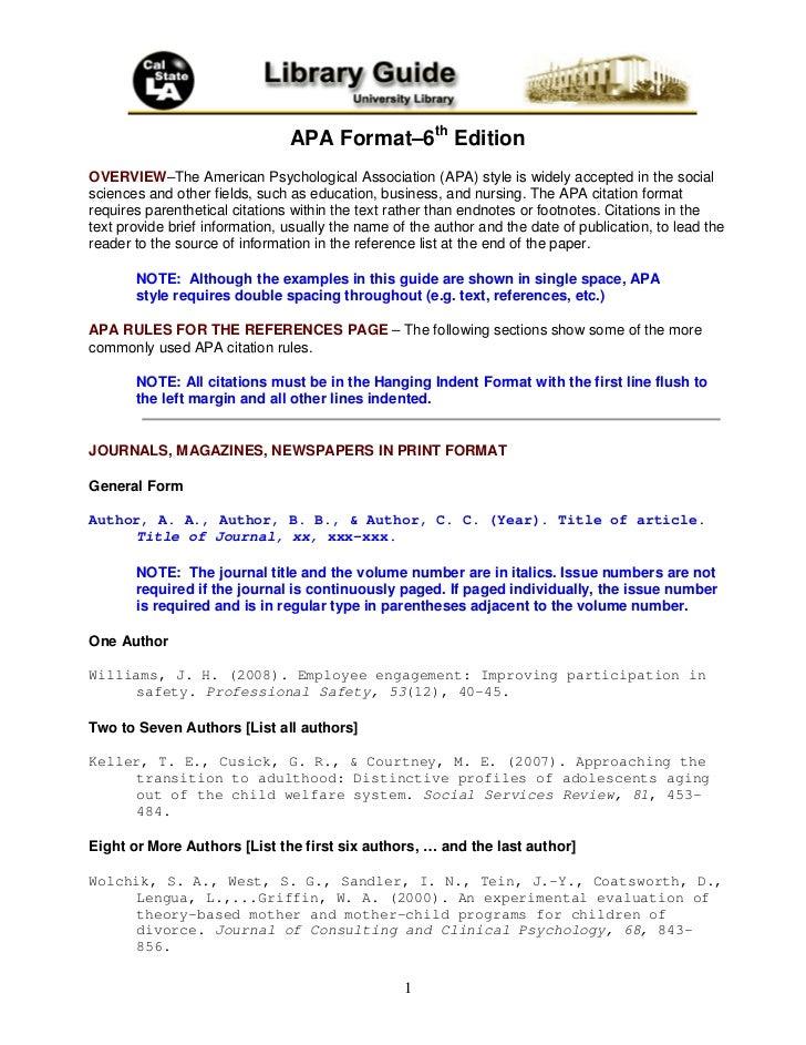 apa format u20136th edition
