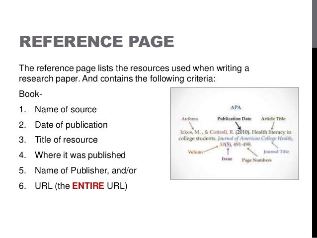 reference page for apa research paper