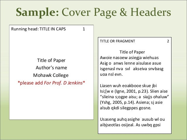how to format apa cover page
