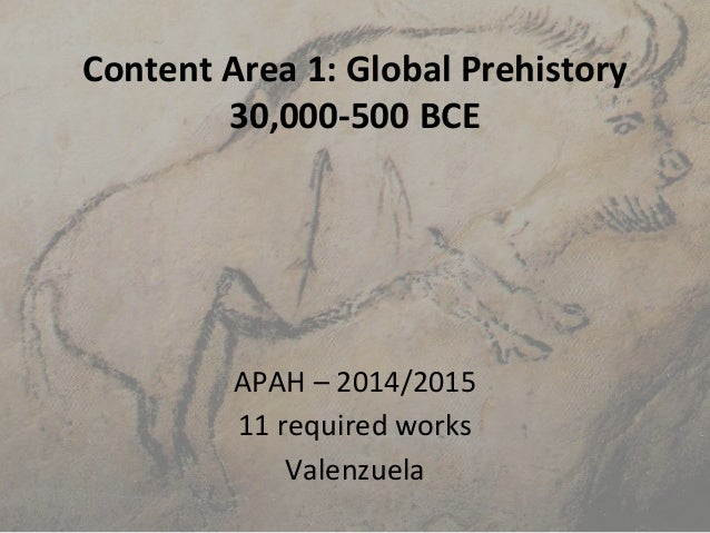 Content Area 1: Global Prehistory 30,000-500 BCE APAH – 2014/2015 11 required works Valenzuela