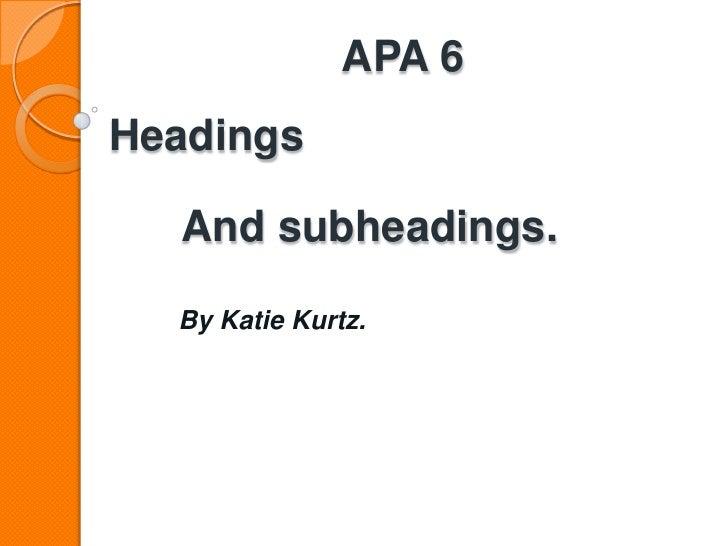 Apa headings presentation