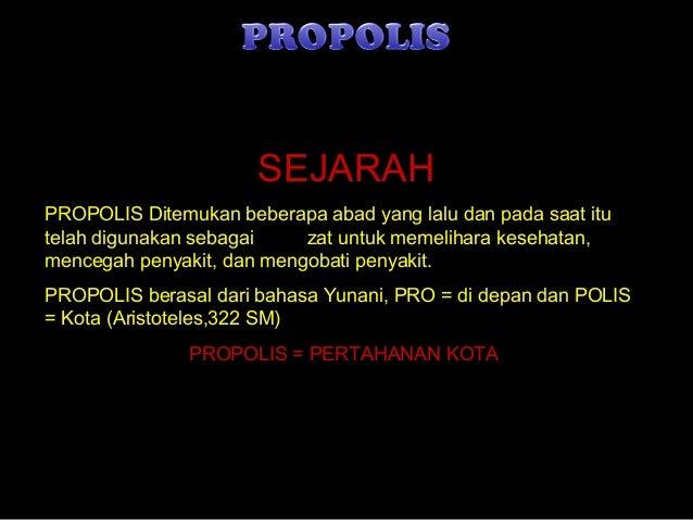 08/14/14 DDN 1 SEJARAH PROPOLIS Ditemukan beberapa abad yang lalu dan pada saat itu telah digunakan sebagai zat untuk meme...