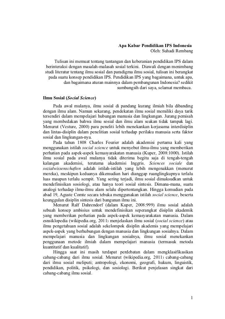 Apa Kabar Pendidikan IPS Indonesia                                                        Oleh: Suhadi Rembang       Tulis...