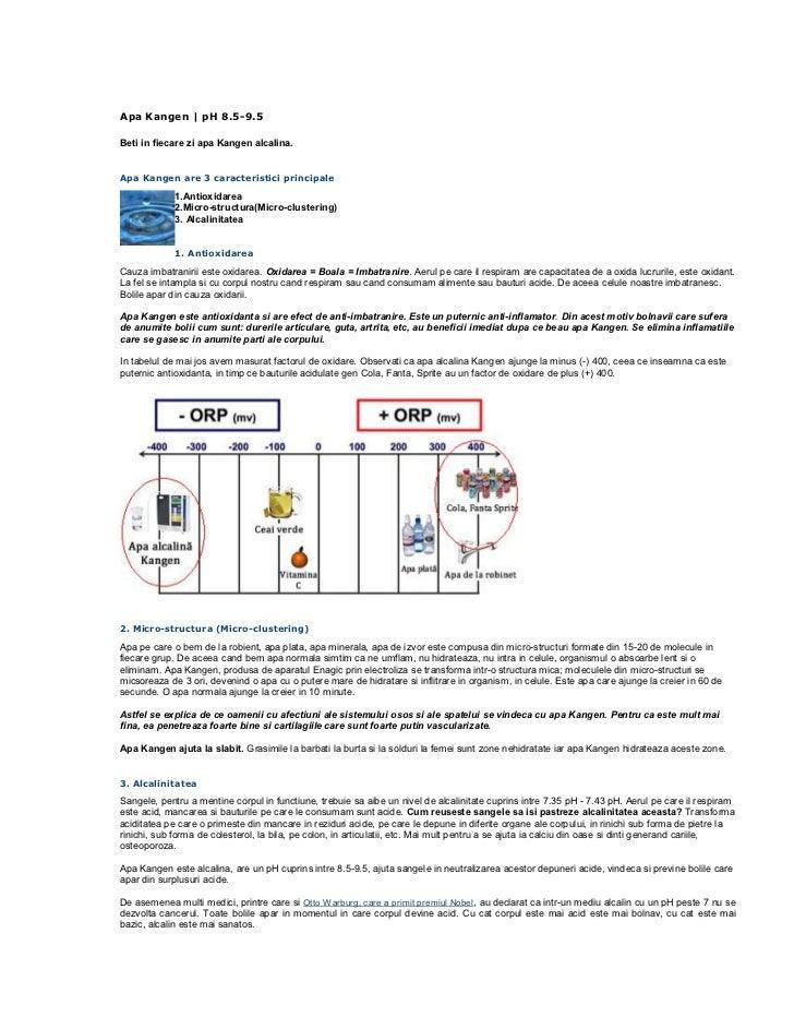 Apa Kangen   pH 8.5-9.5Beti in fiecare zi apa Kangen alcalina.Apa Kangen are 3 caracteristici principale             1.Ant...