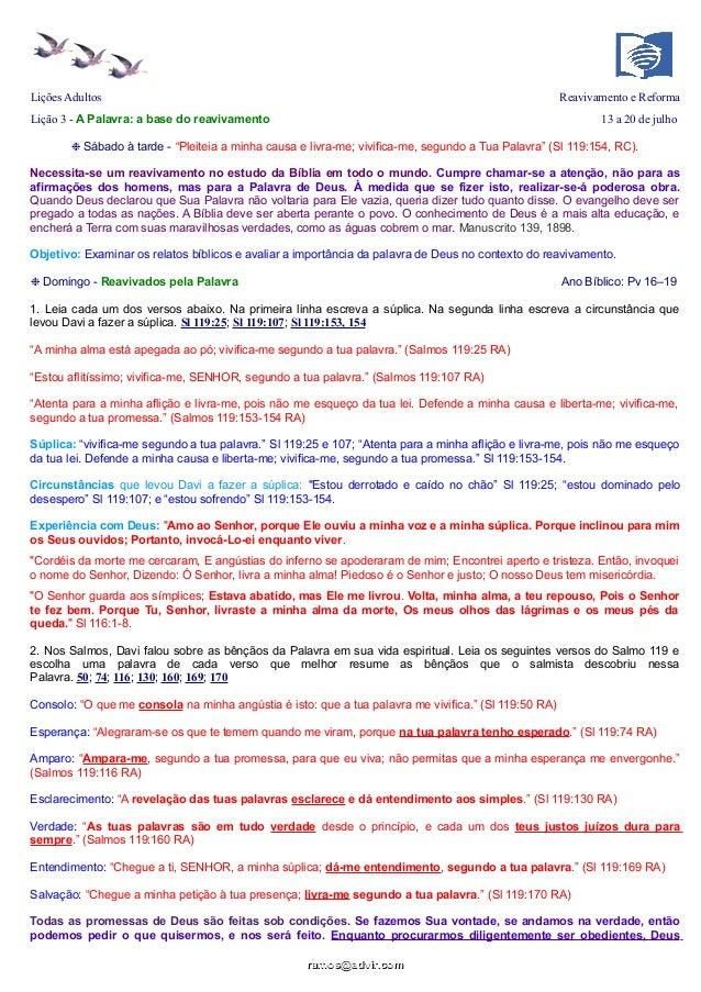 """Lições Adultos Reavivamento e Reforma Lição 3 - A Palavra: a base do reavivamento 13 a 20 de julho ❉ Sábado à tarde - """"Ple..."""