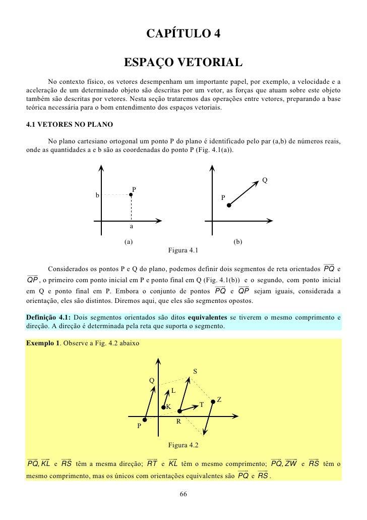 CAPÍTULO 4                                ESPAÇO VETORIAL        No contexto físico, os vetores desempenham um importante ...