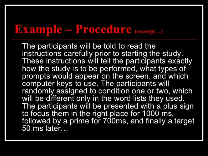 Apa method section – Method of Procedure Template