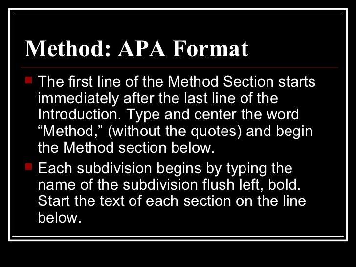 apa method