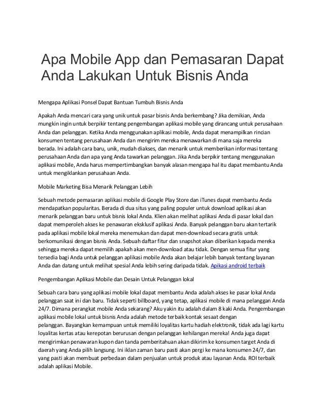 Apa Mobile App dan Pemasaran Dapat Anda Lakukan Untuk Bisnis Anda Mengapa Aplikasi Ponsel Dapat Bantuan Tumbuh Bisnis Anda...