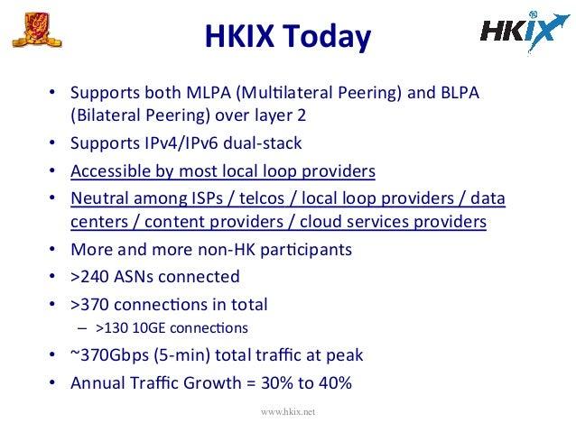 HKIX  Today   • Supports  both  MLPA  (MulElateral  Peering)  and  BLPA   (Bilateral  Peering)  ove...