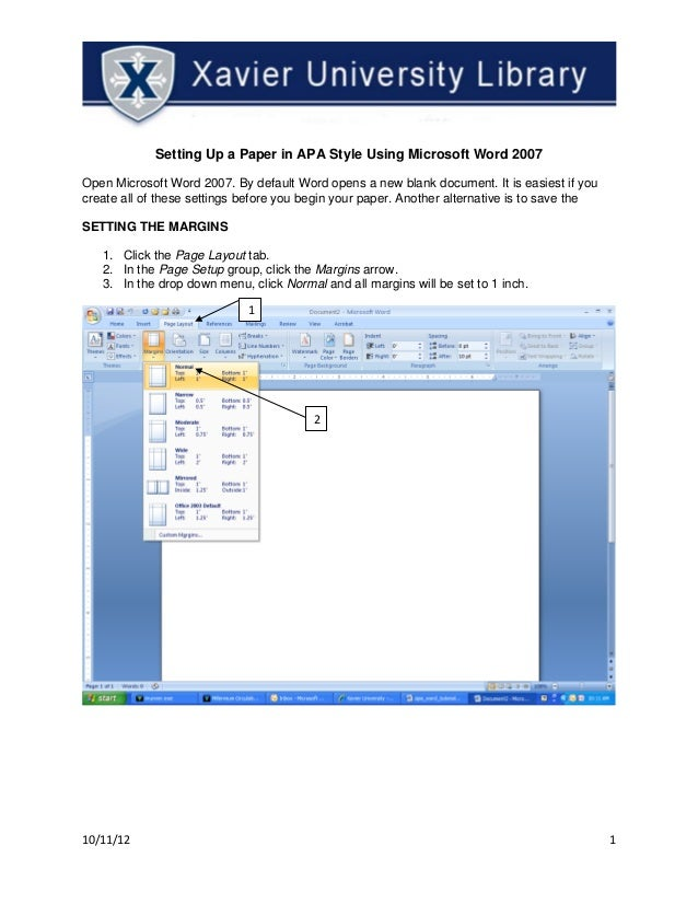 apa format word document