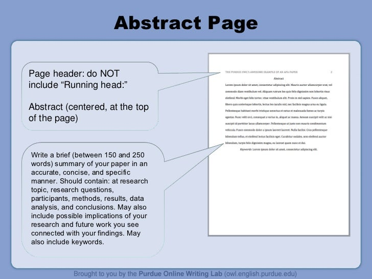 How to write an abstract example for apa