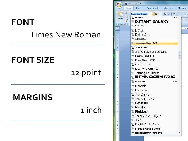 Apa Format Margin Size  One Inch Margins