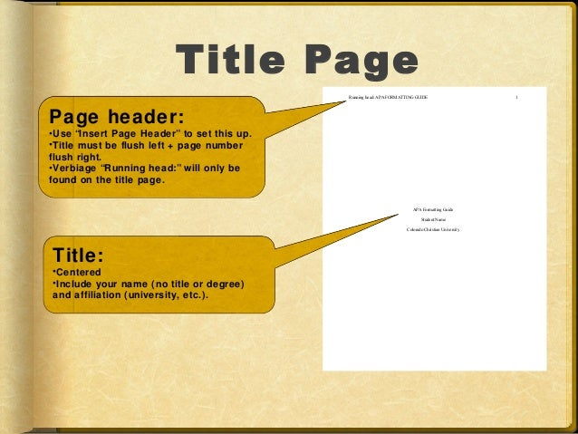 Title Page Running Head: APA FORMATTING ...