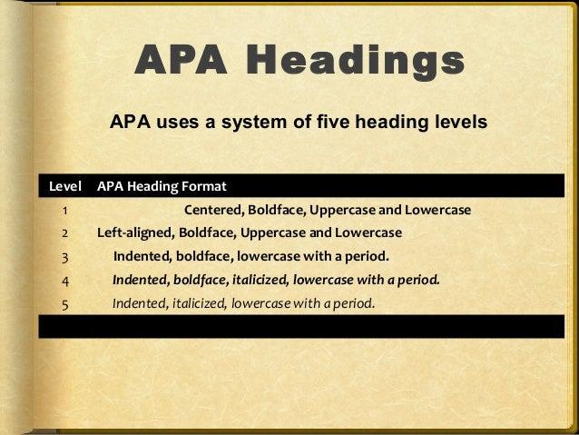 apa format for header
