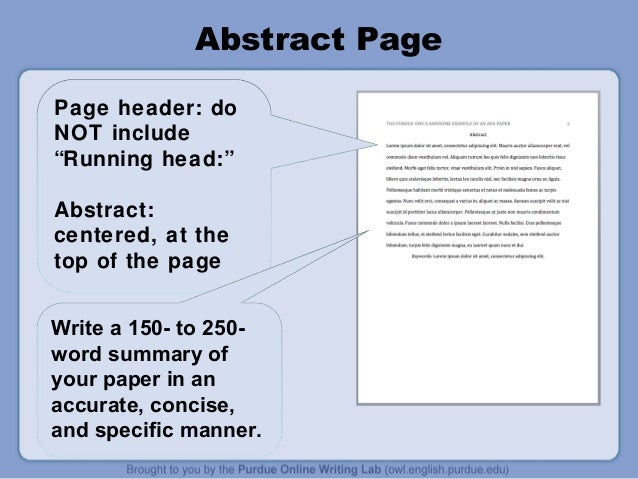 Apa style presentation for Apa abstract page template