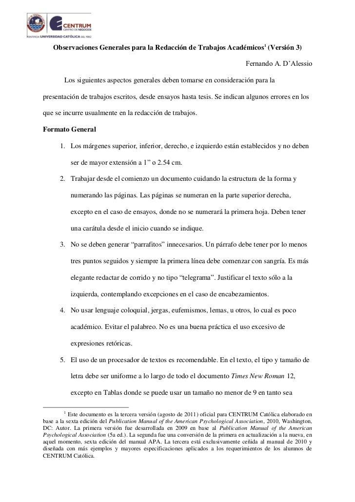 1    Observaciones Generales para la Redacción de Trabajos Académicos1 (Versión 3)                                        ...