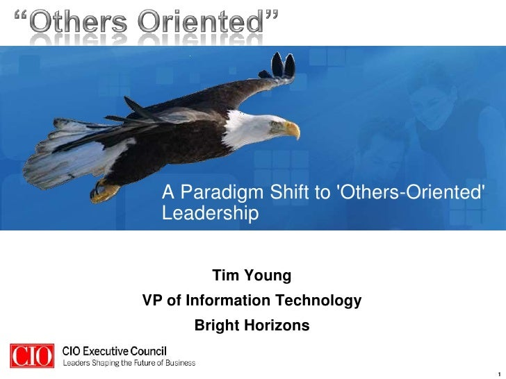 A Paradigm Shift to &apos;Others-Oriented&apos; Leadership<br />Tim Young<br />This work is licensed under the Creative Co...