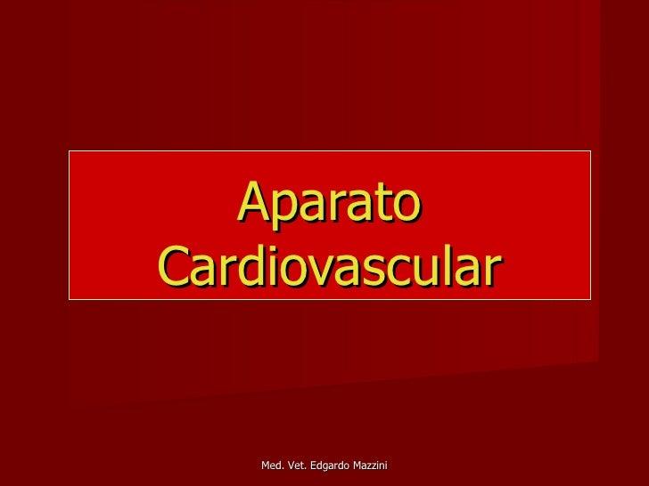 AparatoCardiovascular    Med. Vet. Edgardo Mazzini