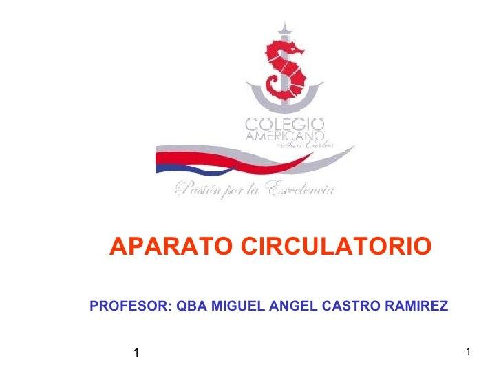 1 APARATO CIRCULATORIO PROFESOR: QBA MIGUEL ANGEL CASTRO RAMIREZ