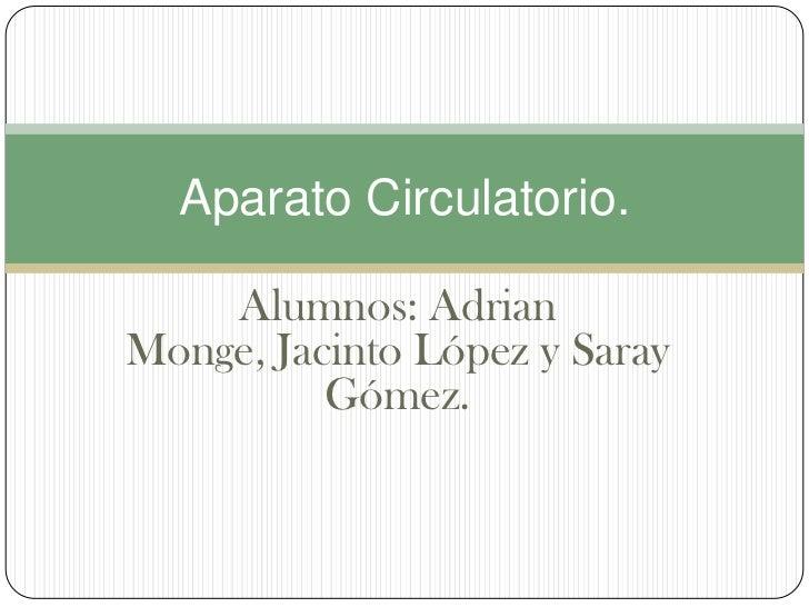 Aparato Circulatorio.    Alumnos: AdrianMonge, Jacinto López y Saray          Gómez.