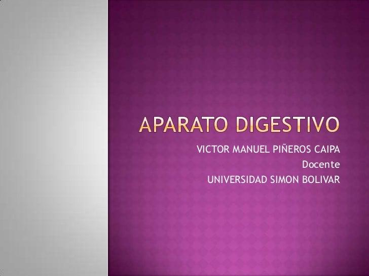 aparato digestivo<br />VICTOR MANUEL PIÑEROS CAIPA<br />Docente<br />UNIVERSIDAD SIMON BOLIVAR<br />