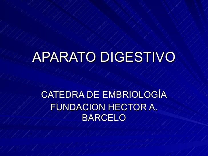 APARATO DIGESTIVO CATEDRA DE EMBRIOLOGÍA FUNDACION HECTOR A. BARCELO