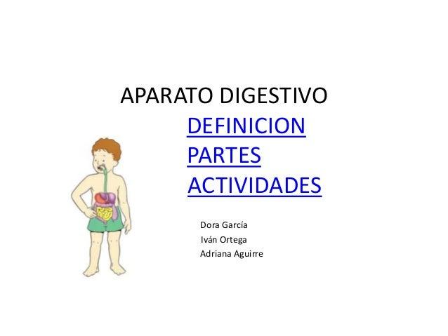 APARATO DIGESTIVO DEFINICION PARTES ACTIVIDADES Dora García Iván Ortega Adriana Aguirre