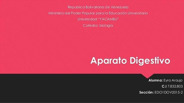 Aparato Digestivo Republica Bolivariana de Venezuela Ministerio del Poder Popular para la Educación Universitaria Universi...