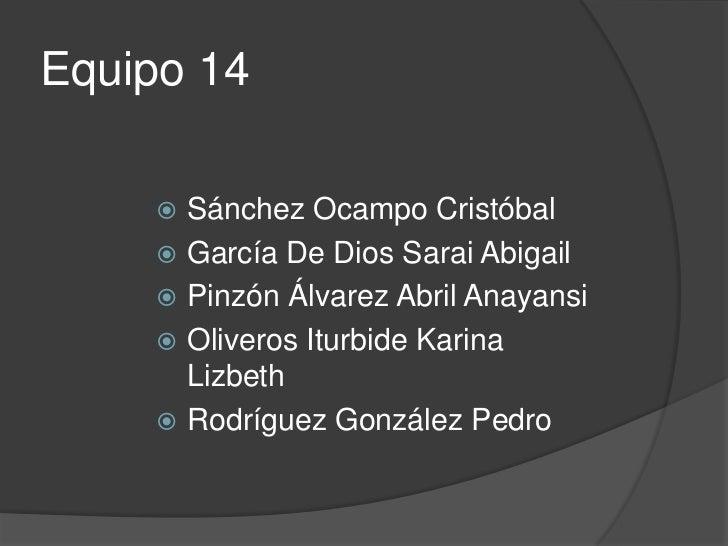 Equipo 14      Sánchez Ocampo Cristóbal      García De Dios Sarai Abigail      Pinzón Álvarez Abril Anayansi      Oliv...