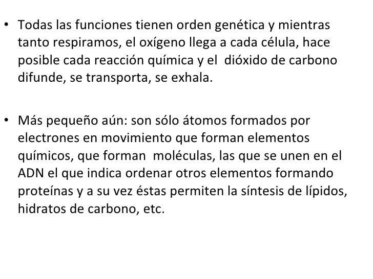 <ul><li>Todas las funciones tienen orden genética y mientras tanto respiramos, el oxígeno llega a cada célula, hace posibl...