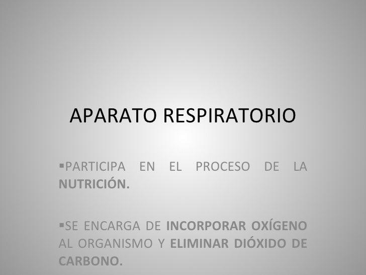 APARATO RESPIRATORIO <ul><li>PARTICIPA EN EL PROCESO DE LA  NUTRICIÓN. </li></ul><ul><li>SE ENCARGA DE  INCORPORAR OXÍGENO...