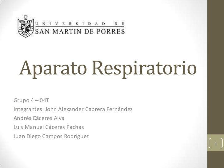 AparatoRespiratorio<br />Grupo 4 – 04T<br />Integrantes: John Alexander Cabrera Fernández<br />Andrés Cáceres Alva<br />Lu...