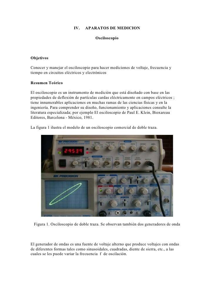 IV.   APARATOS DE MEDICION                                     OsciloscopioObjetivosConocer y manejar el osciloscopio para...