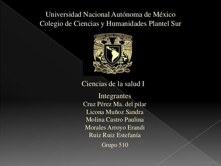 Universidad Nacional Autónoma de MéxicoColegio de Ciencias y Humanidades Plantel Sur             Ciencias de la salud I   ...