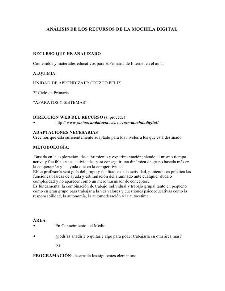 ANÁLISIS DE LOS RECURSOS DE LA MOCHILA DIGITALRECURSO QUE HE ANALIZADOContenidos y materiales educativos para E.Primaria d...