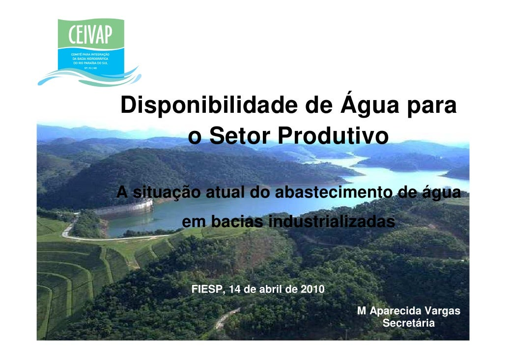 Disponibilidade de Água para      o Setor Produtivo  A situação atual do abastecimento de água        em bacias industrial...
