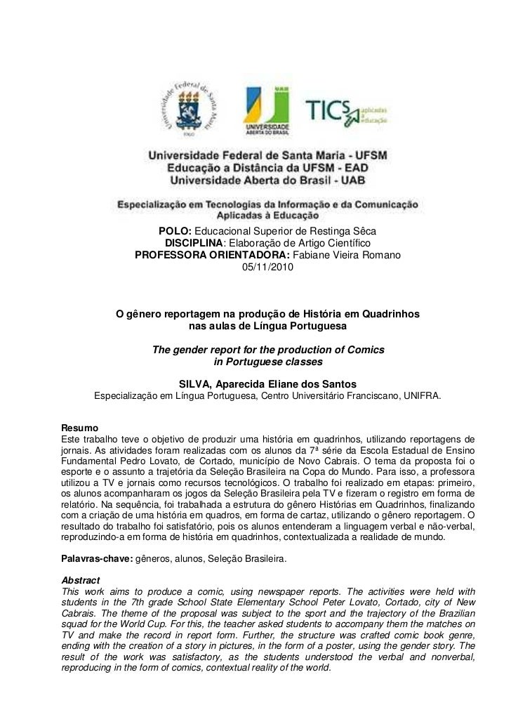 POLO: Educacional Superior de Restinga Sêca                     DISCIPLINA: Elaboração de Artigo Científico               ...