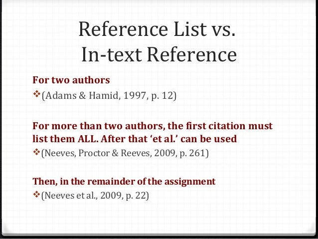 how to put 2 authors in a reference list
