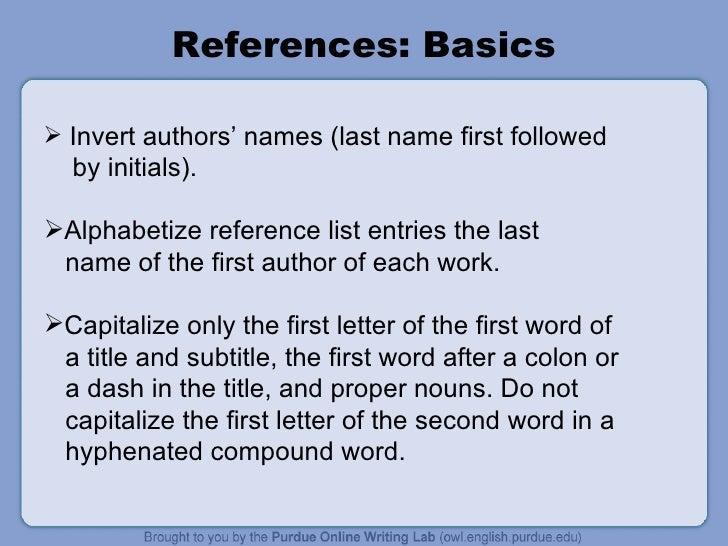 how to do apa references