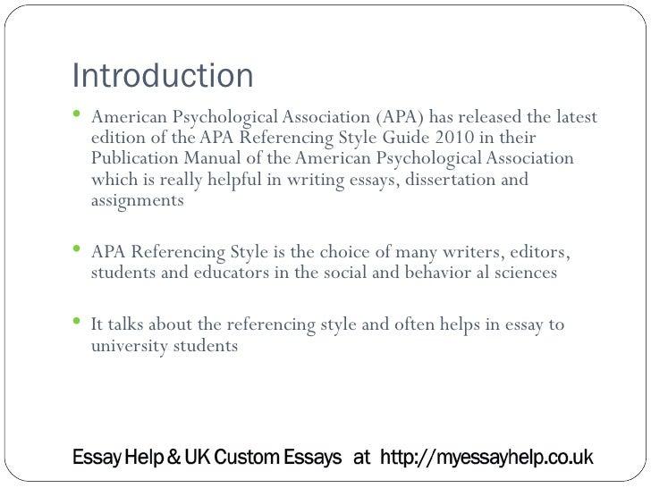 Uk essays apa referencing