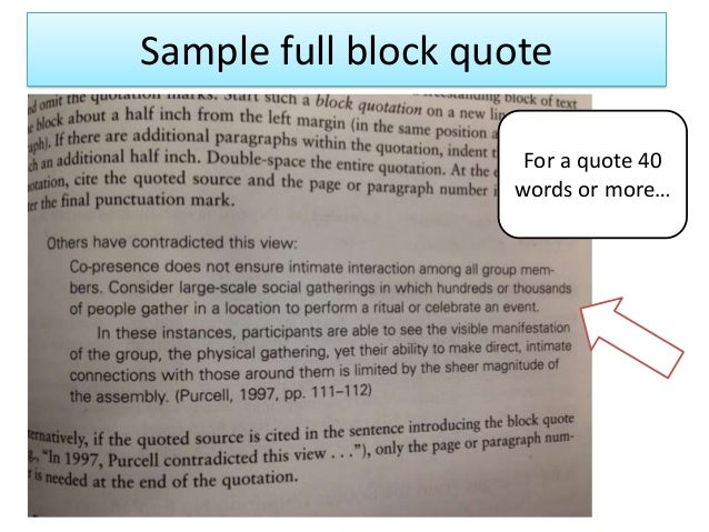 embedding long quotes in essays Session overview □ what is mla style □ general guidelines □ quotations/ paraphrasing □ in-text citations □ works cited □ resources □ q & a time indent first sentence of paragraphs ½ inch from margin – mla recommends simply using the mla papers don't typically need cover pages – so unless your.